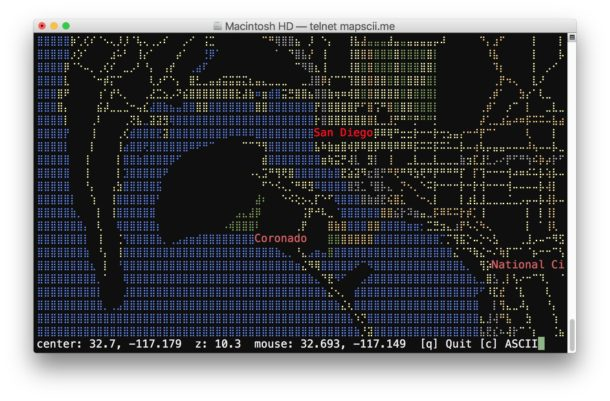 Ascii Maps at the command line with Mapscii