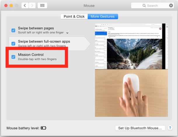 Open Mission Control Settings on Mac Magic Mouse