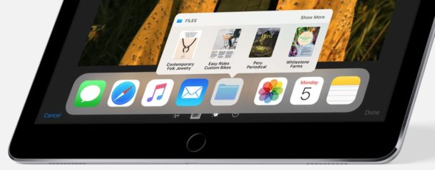 iOS 11 iPad dock