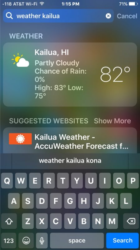 Get a weather report from Spotlight in iOS