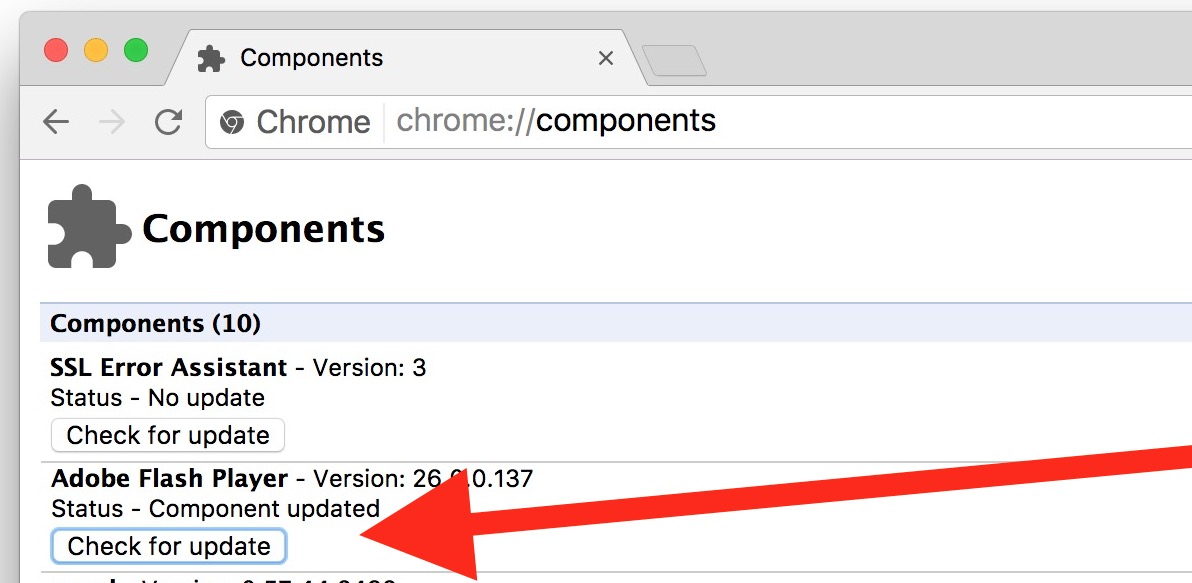 Update Flash Player manually in Google Chrome