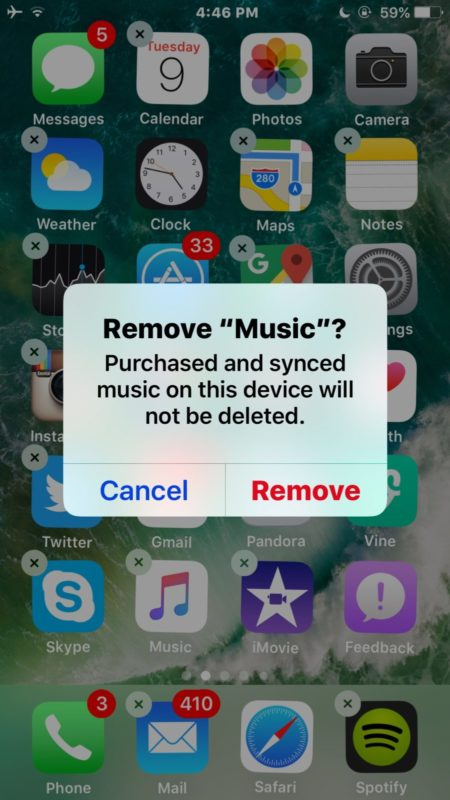 How to    Delete the Music app itself in iOS