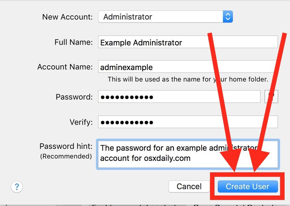 Create a new administrator account in Mac OS