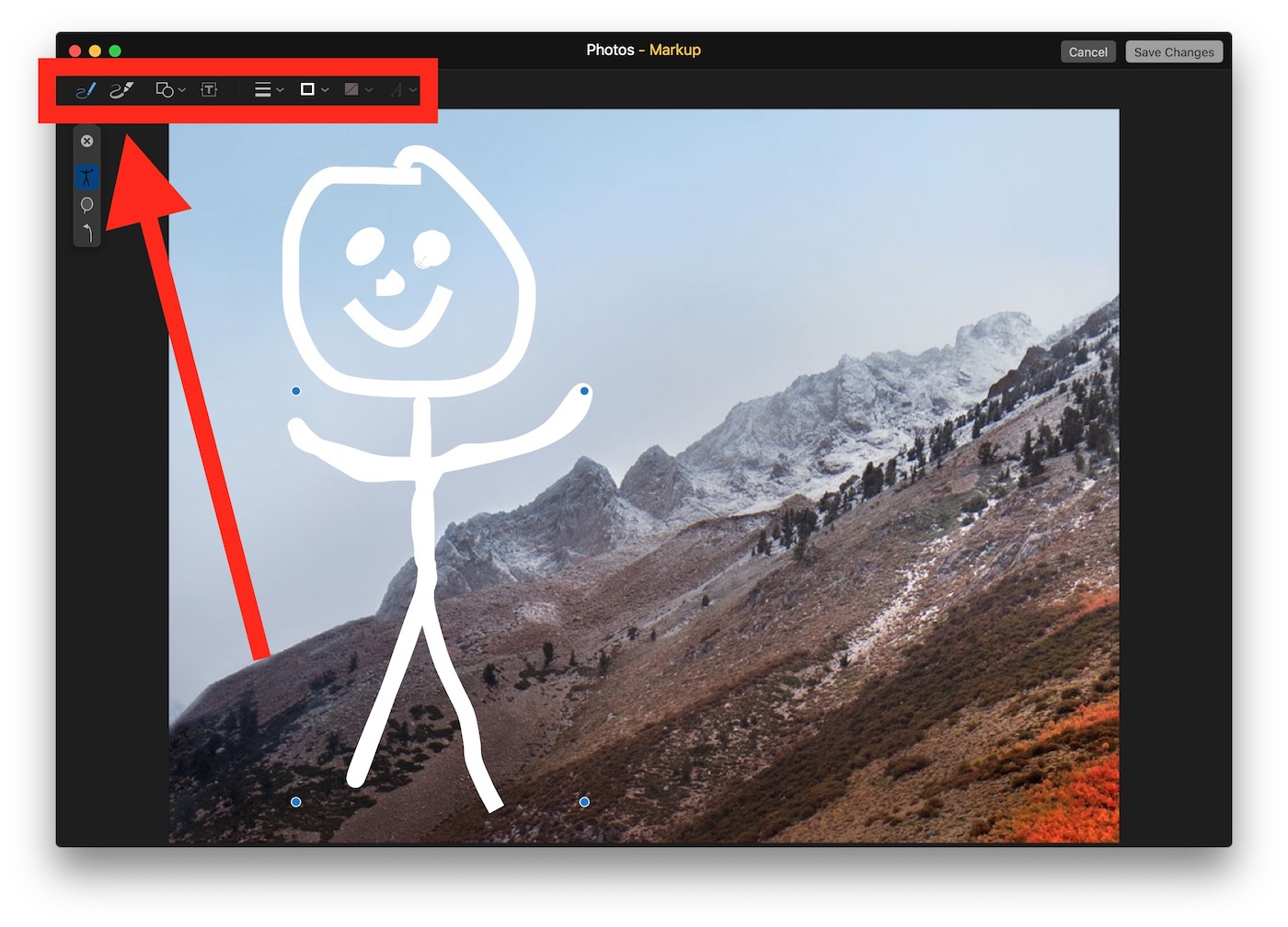 Use the marking tools to draw on the picture in Photos for Mac