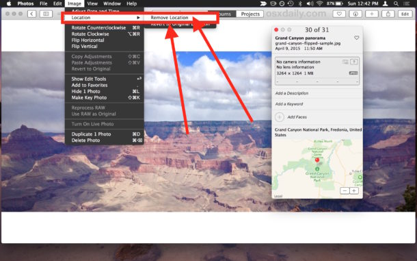 Remove location from Photos on Mac
