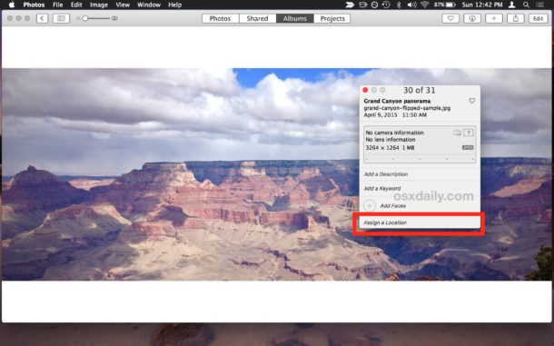 No more location in photo Photos for Mac