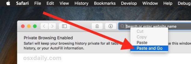 Paste and go in Safari for Mac URL bar