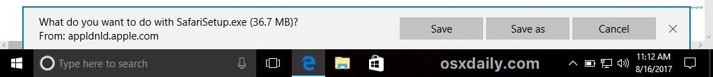 Save and download Safari for Windows