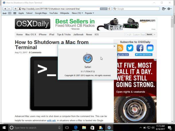 Safari in Windows 10
