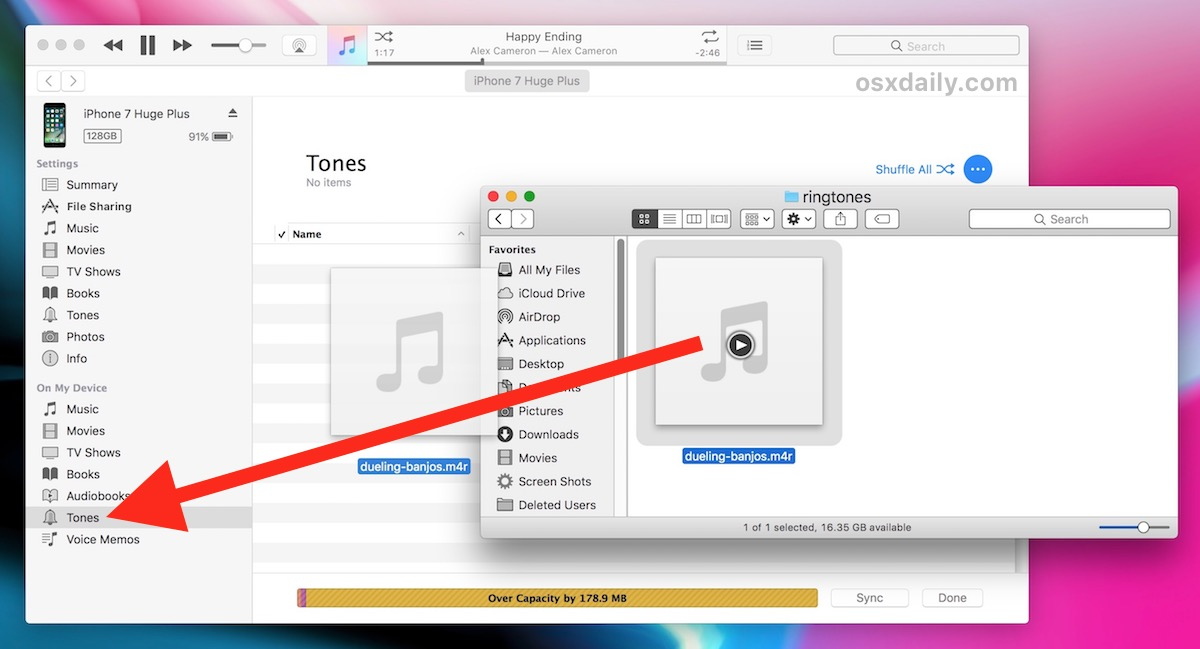 Copy ringtone to iPhone in new iTunes version