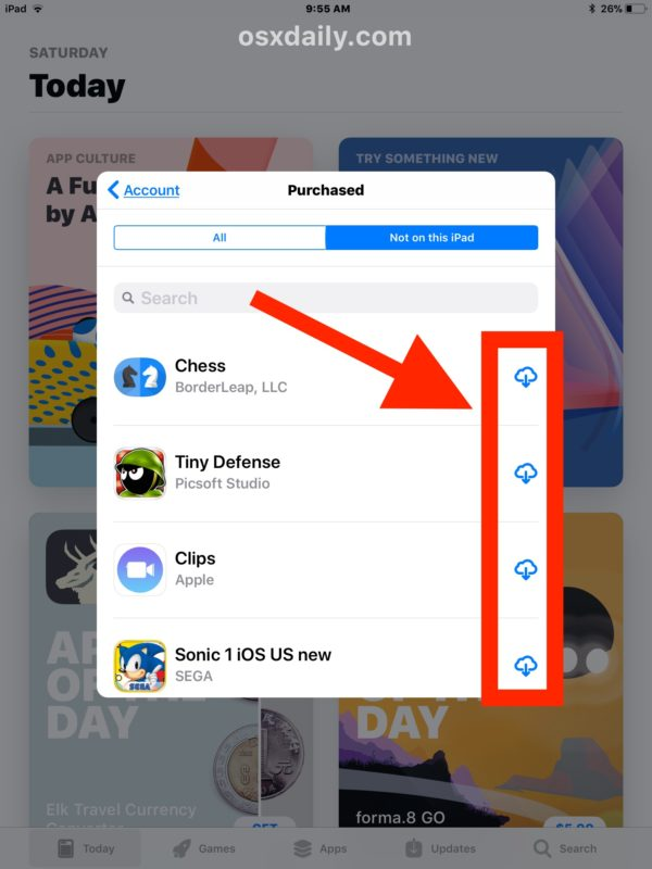 Download apps from the Purchased section of apps that are not on the current device