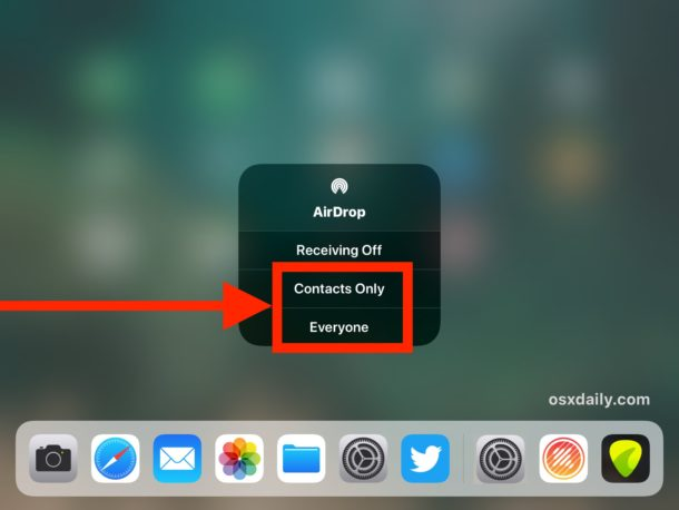 Enable AirDrop in iOS