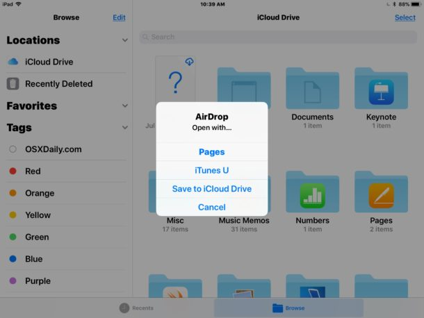Receive AirDrop files from Mac to iPad and iPhone as files