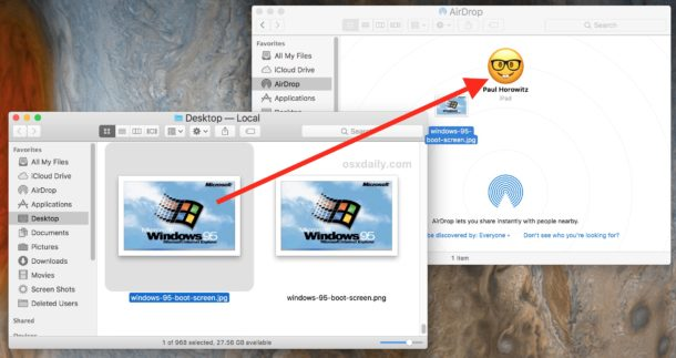 Drag files in AirDrop to the iOS device to send AirDrop