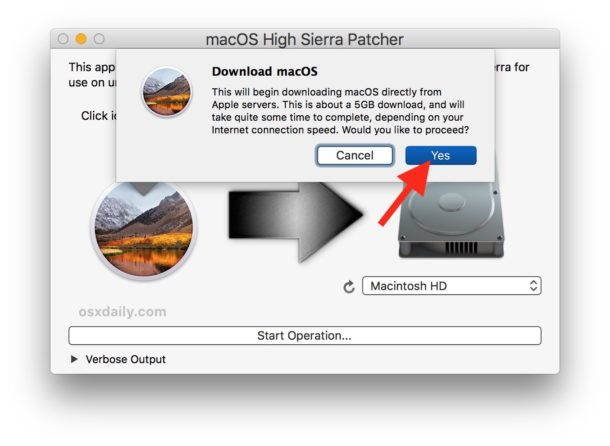 Confirm to download the full macOS High Sierra installer