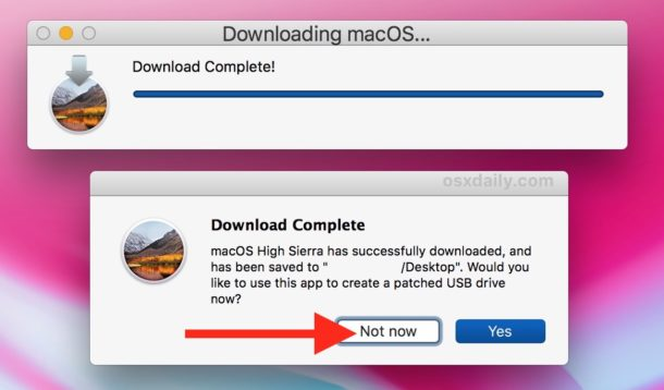 Download of the full macOS High Sierra installer is complete