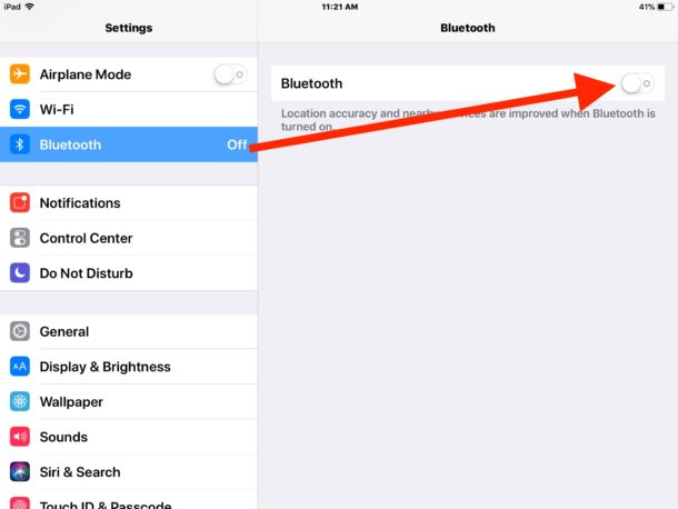 How to    turn off Bluetooth in iOS 11