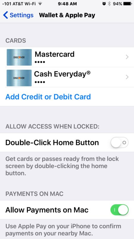 Added new cards to Apple Pay