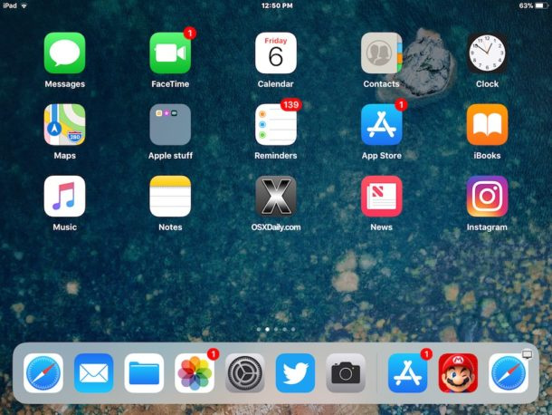 Recent apps and suggested apps visible in Dock for iPad