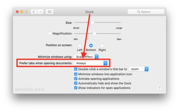 Always set preference tabs for Mac apps