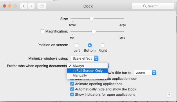 Other tab preferences settings for Mac apps