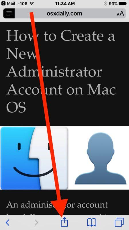 Choose share button from Safari Reader mode