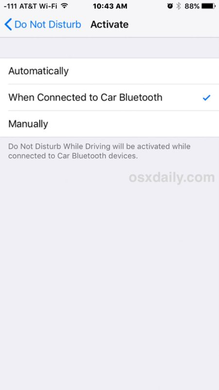 Turn on Do Not Disturb While Driving on iPhone