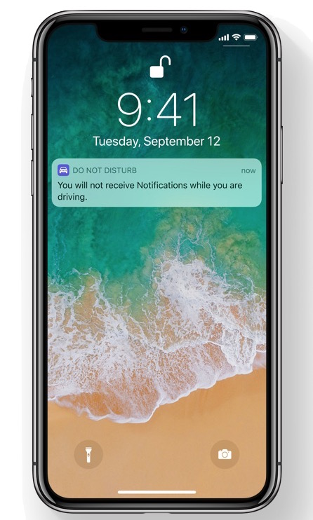 Do not disturb while driving feature enabled and active on iPhone
