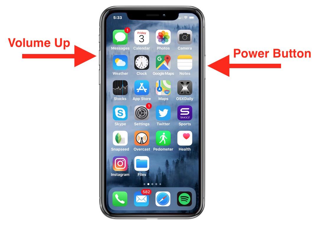Take screenshots on iPhone X