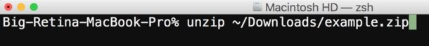 Unzip with the command line on Mac OS