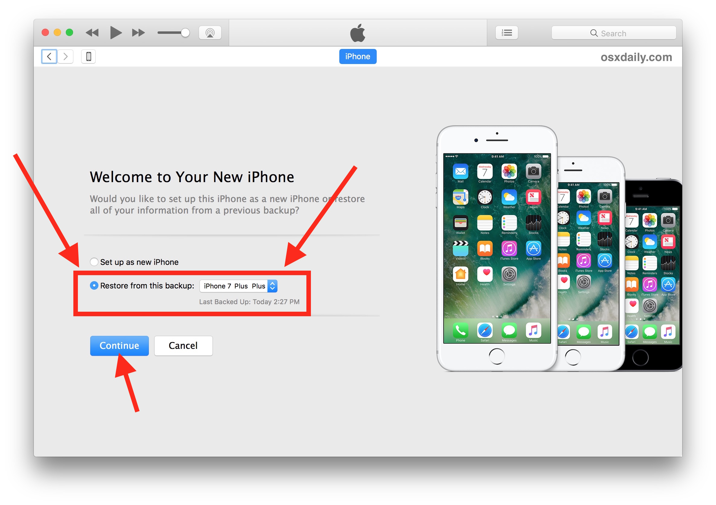 Choose the iTunes backupup to restore to a new iPhone X