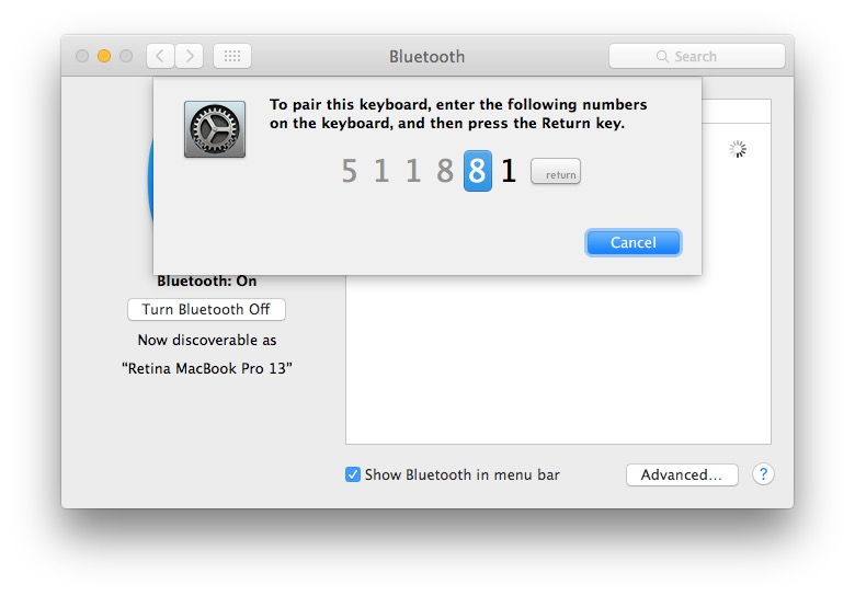 Pair the Apple keyboard to stop the blinking light