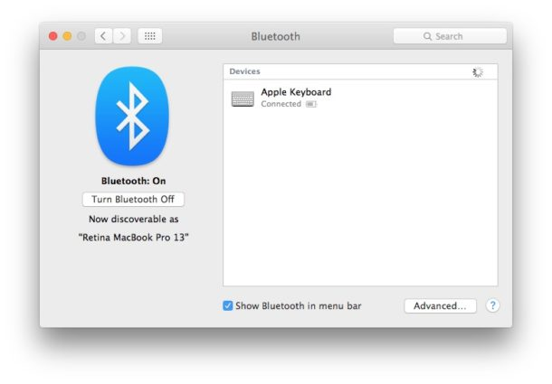 Apple keyboard works in Bluetooth and is connected