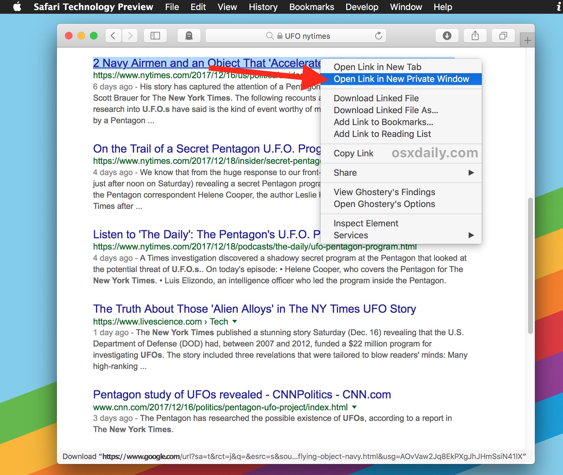 Choose open link in new private window in Safari for Mac