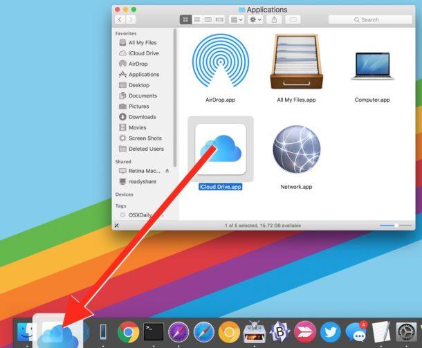 Drag iCloud Drive to the Dock on Mac