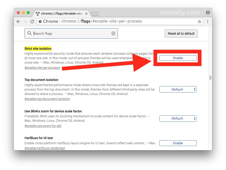 Enable strict site isolation in Chrome
