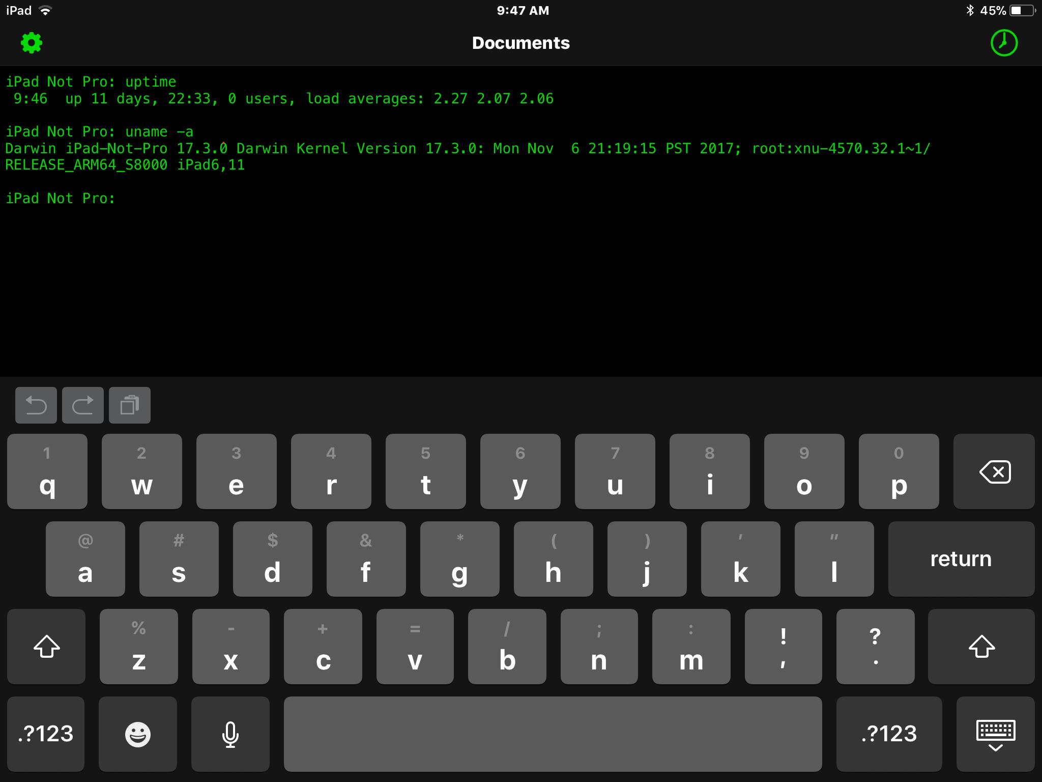 Get OpenTerm uptime in iOS