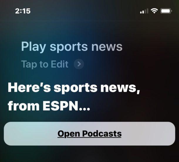 Play sports news from Siri