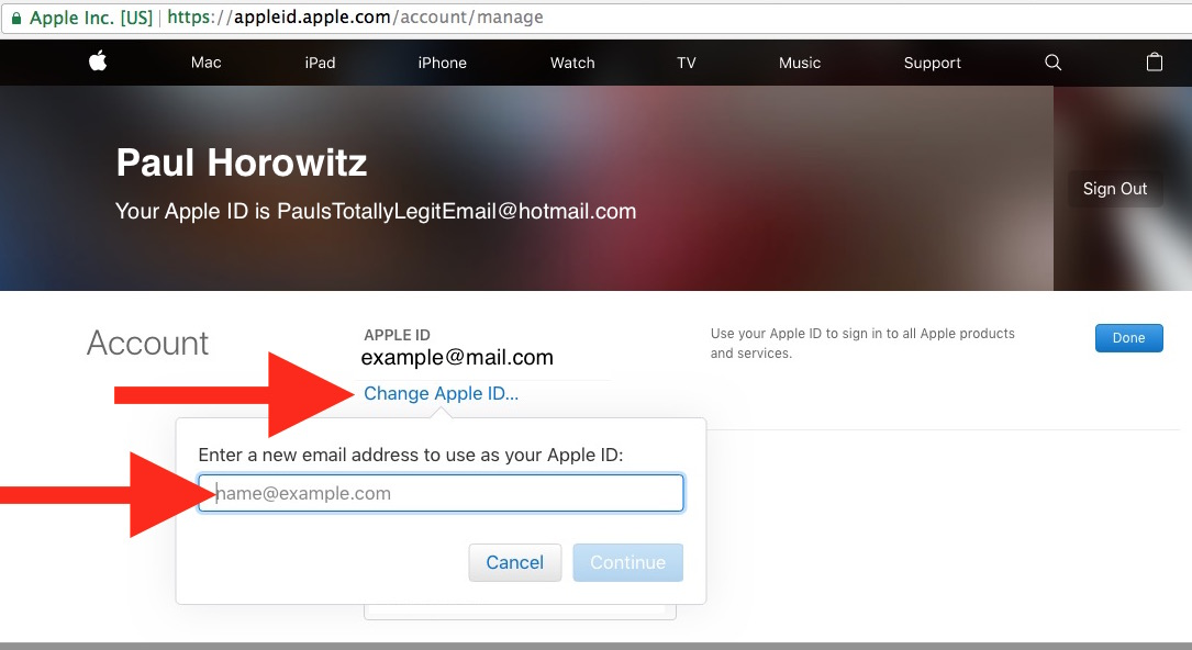 Change an Apple ID email address