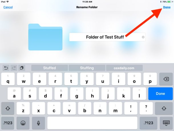 Rename a folder in the Files app for iOS