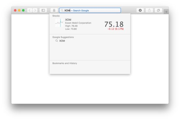 View the stock price from the ticker symbol in Safari's address bar