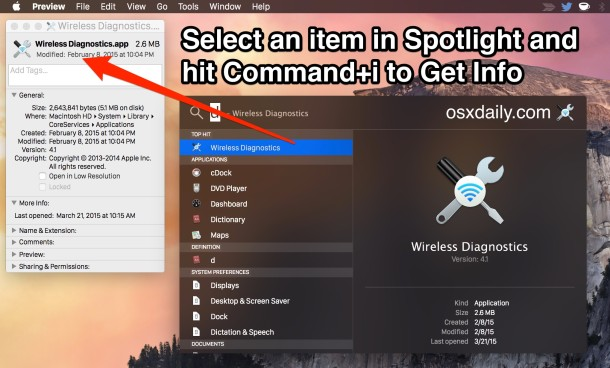 Get information about items from Spotlight in Mac OS X