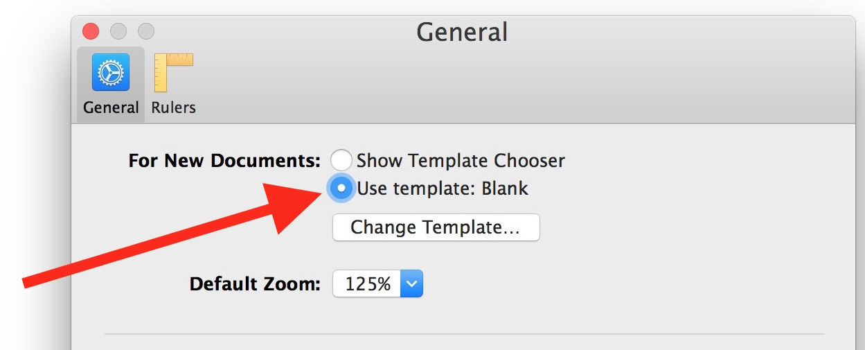 Open Pages to a new blank document on Mac
