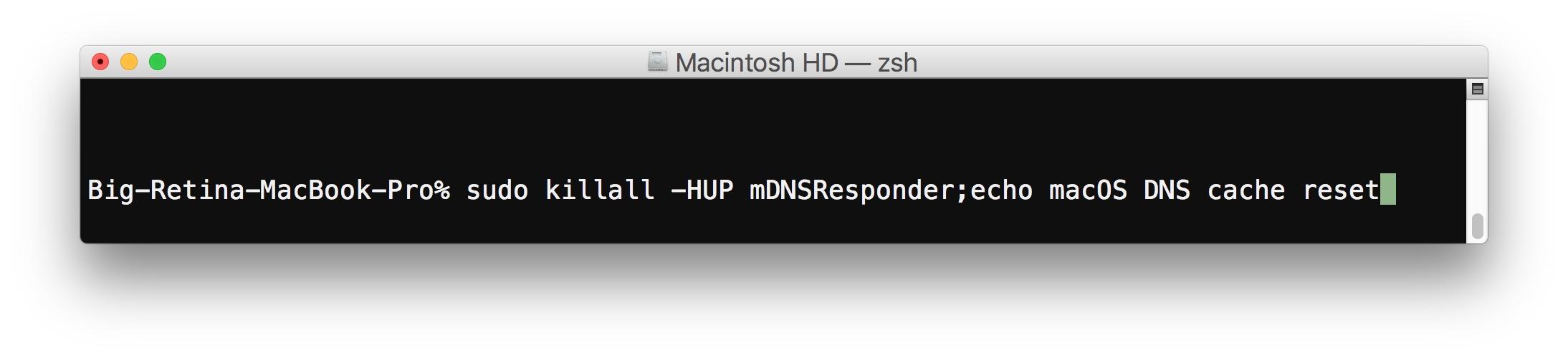 Reset DNS cache in macOS High Sierra