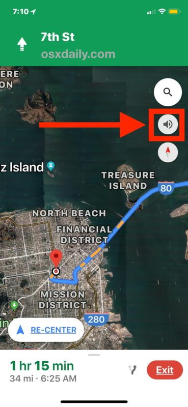 The voice navigation button in Google Maps for iPhone