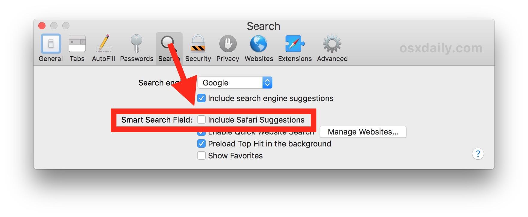 Disable Safari Suggestions on Mac