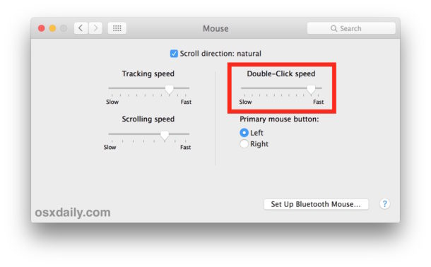 Adjust the mouse double-click speed setting in Mac OS