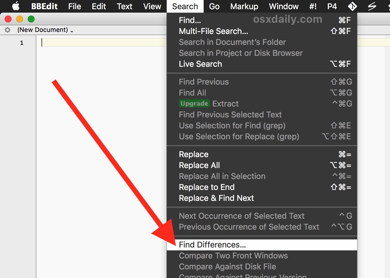 Find differences with BBEdit for Mac