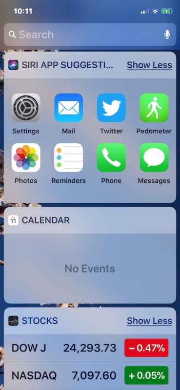 Customize the Today screen by removing widgets