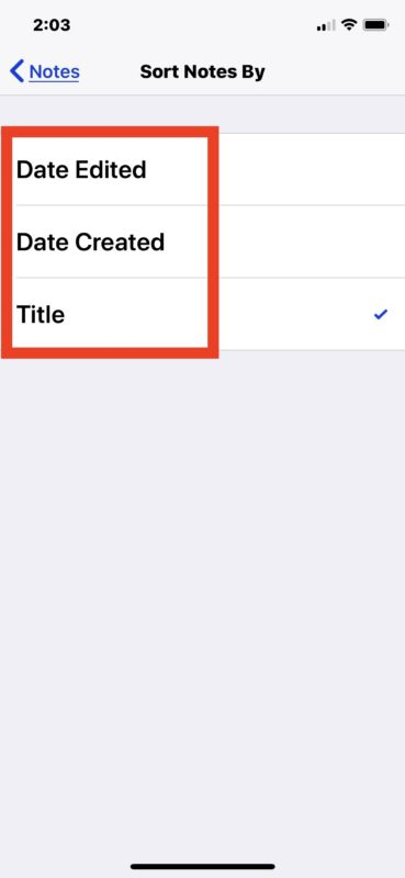 How to    sort notes in iOS